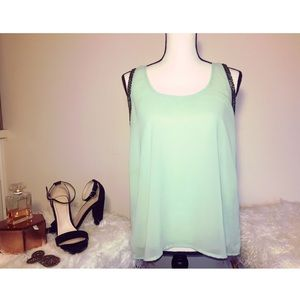 Seafoam green flowy tank top with chrome beading